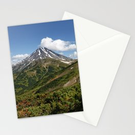 Picturesque summer panorama of volcanic landscape in Kamchatka Peninsula Stationery Cards