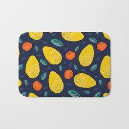 Lemon and orange exotic watercolor fruit pattern Bath Mat
