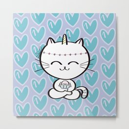 Lily Unicorn Kitty Metal Print