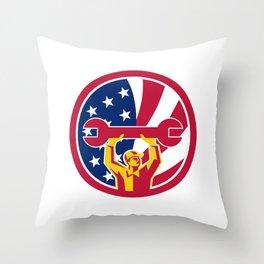 American Mechanic USA Jack Flag Icon Throw Pillow
