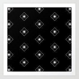 Black & White Rhombus & Squares Pattern 2 Art Print