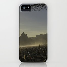 Sunset at Ipanema Beach with Pam Trees iPhone Case