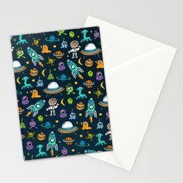 Deep Space, Night Sky, Rocket Ship, UFO, Space Alien, Astronaut, Outer Space Stationery Cards