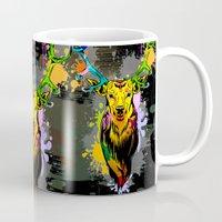 popart Mugs featuring Deer PopArt Dripping Paint by BluedarkArt