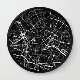 Black City Map of Berlin, Germany Wall Clock