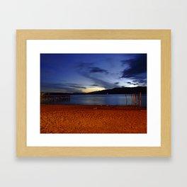 Lake Te Anau at dusk, New Zealand Framed Art Print