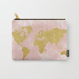 Gold Glitter Map, Nursery Art, Pink Gold, Pastels Carry-All Pouch