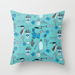 Things at my desk Blue theme Throw Pillow