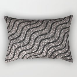 Silver Glitter With Black Squiggles Pattern Rectangular Pillow