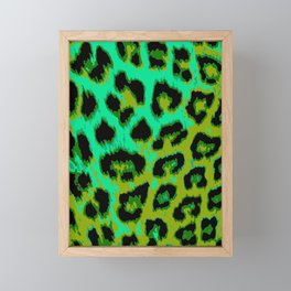 Aqua and Apple Green Leopard Spots Framed Mini Art Print