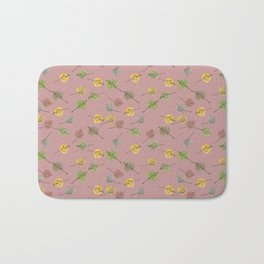 Colorado Aspen Tree Leaves Hand-painted Watercolors in Golden Autumn Shades on Copper Rose Bath Mat