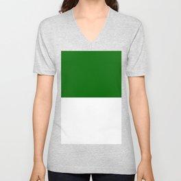 White and Dark Green Horizontal Halves Unisex V-Neck