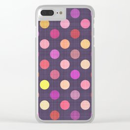 Simple Bright Purple Coral Red Hot Pink Orange Yellow Polka Dots Pattern Clear iPhone Case