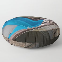 Blue Row Boats Floor Pillow