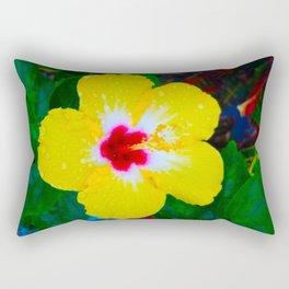 Rain Kissed Yellow Hibiscus Rectangular Pillow