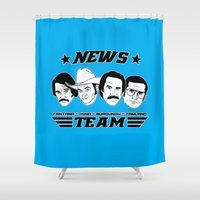 will ferrell Shower Curtains featuring news team - the anchorman by Buby87