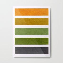 Olive Green & Hazel Brown Geometric Pattern Metal Print