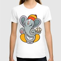 hindu T-shirts featuring Hindu God Ganapati (Ganesha). Hand drawn illustration. by Katyau