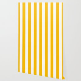 Amber yellow - solid color - white vertical lines pattern Wallpaper