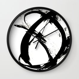 Brushstroke 7: a minimal, abstract, black and white piece Wall Clock