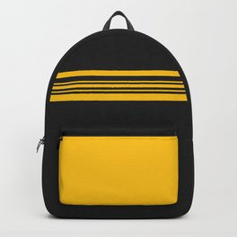 Yellow stripes on black Backpack