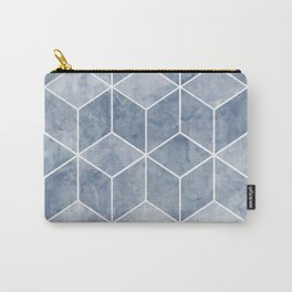Geometric, Mable, Stone, Pattern, Blue Carry-All Pouch