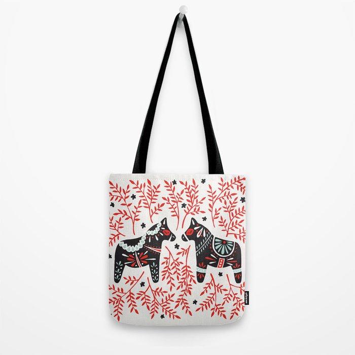 Swedish Dala Horses – Red and Black Palette Tote Bag