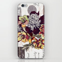 Beautiful illustration with peony flowers in vintage style iPhone Skin