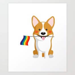 LGBT Gay Pride Flag Corgi - Pride Women Gay Men Art Print