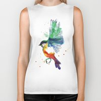 birdy Biker Tanks featuring Birdy by Annaleigh Louise
