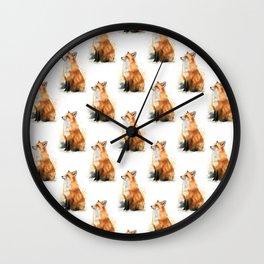 Red Fox Pattern Wall Clock