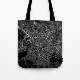Bucharest Black Map Tote Bag