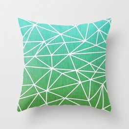 Abstract geometric | green & turquoise Throw Pillow