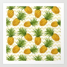Hawaiian pattern with pineapples Art Print