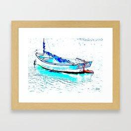 Aqua Boat Framed Art Print