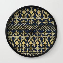 Norwegian Pattern – Gold on Navy Wall Clock