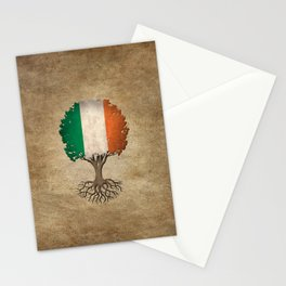 Vintage Tree of Life with Flag of Ireland Stationery Cards