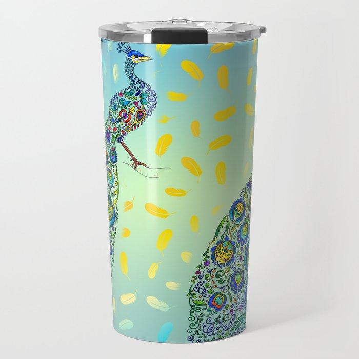 Flowery Peacock Travel Mug