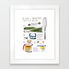 illustrated recipes: leek and yogurt soup Framed Art Print