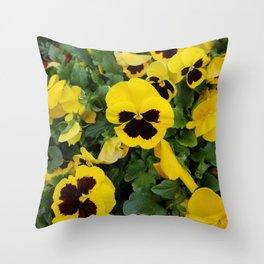 Pansies, Yellow Pansies Throw Pillow