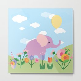 Purple Elephant and Balloons, nursery decor , Metal Print