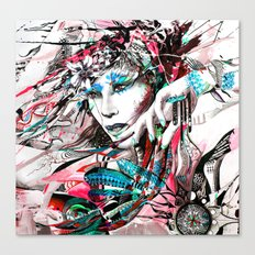 Lady with Feather Canvas Print