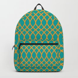 Geometric pattern midcenter green and yellow  Backpack
