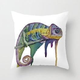Melting Chameleon Throw Pillow
