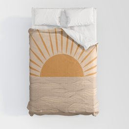 Modern abstract aesthetic background with sun and sea waves, sunset and sunrise illustration Comforters