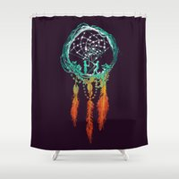 ethnic Shower Curtains featuring Dream Catcher (the rustic magic) by Picomodi