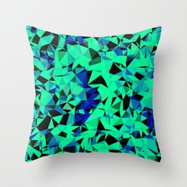 geometric triangle pattern abstract in green blue black Throw Pillow