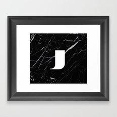 Black Marble - Alphabet J Framed Art Print
