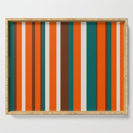 Striped pattern in orange and green Serving Tray