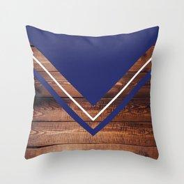 Navy & Wood Throw Pillow